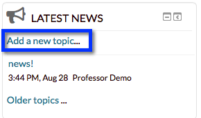 Moodle add a new news topic
